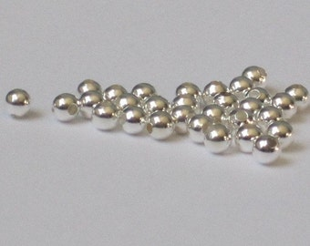 2.5 mm Silver Plated Round Bead  (Qty 100)  50-SP101