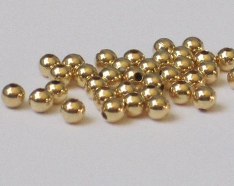 2.5mm Gold Plated Round Bead  (Qty 100)  50-GP101