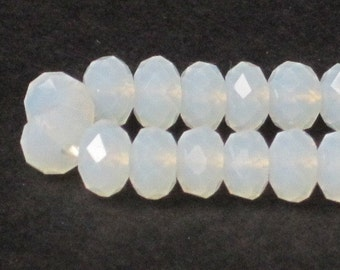 6 x 4 mm Opal White Faceted Glass Rondelle (Qty 40)  90-6-129