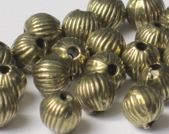 Antiqued Brass Fluted Beads 6mm Round (Qty 20)  50-PE106