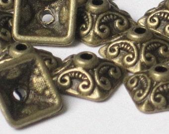 Antiqued Brass Color 10 x 10mm Square Bead Cap  (Qty 20)    75-5-106