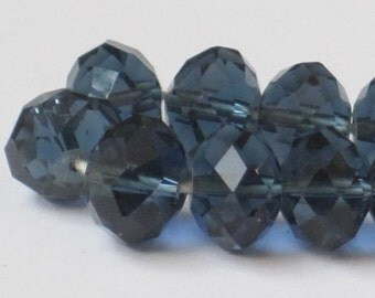 10 x 7 mm Ink Blue Faceted Glass Rondelle (Qty 20)  90-6-141