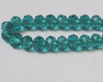 4 x 3 mm Peacock Green Faceted Glass Rondelle (Qty 50)  90-6-145