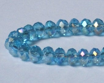 6 x 4 mm Light Blue AB Faceted Glass Rondelle (Qty 40)  90-6-159