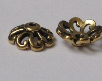 Antiqued Gold Plated Beadcap  12 mm  (Qty 2)    75-5-109