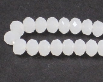 4 x 3 mm Opal White Faceted Glass Rondelle (Qty 50)  90-6-147