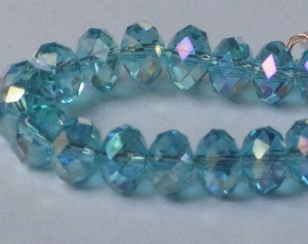 8 x 6 mm Light Blue AB Faceted Glass Rondelle (Qty 30)  90-6-174