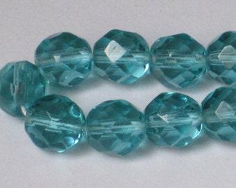 8 mm Light Aqua Faceted Czech Fire-Polished Beads (Full 16 inch strand)  90-6-195