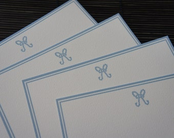 Personalized Flat Note Cards / Nautical / Rope / Blue - Set of 10