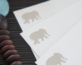 Personalized Note Cards Elephant Taupe Set of 10