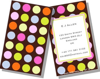 Personalized Luggage Tags Polka Dots Multi-Color Brown Set of 2