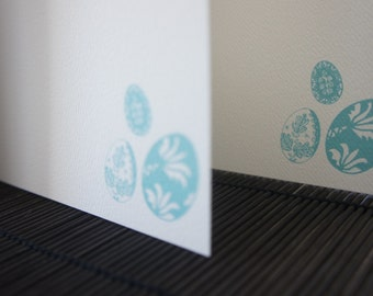 Decorative Egg Note Cards - Turquoise Easter Eggs - Flat Note Cards - Set of 10