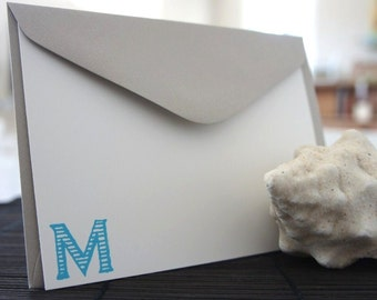 Personalized Note Cards/Monogram/Initials/Blue/Turquoise Set of 10
