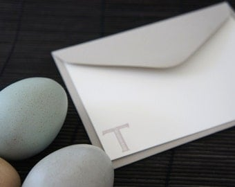 Personalized Note Cards, Monogram, Initials, Taupe, Grey, Set of 10.
