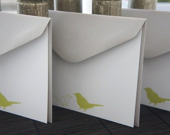 Green Bird, Personalized, Note Cards, Little Birds,  Olive, Robin, nature, Set of 10