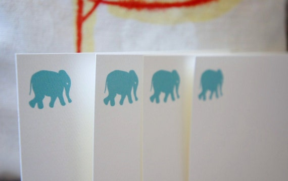Personalized Note Cards Elephant Aqua Pastel Blue Turquoise - Set of 10