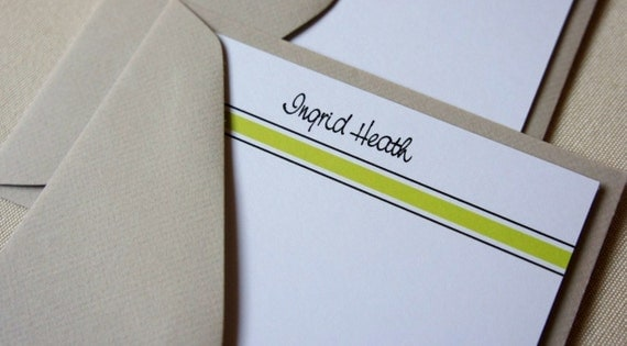 Lime Green, Stipes, Note Cards, Personalized, Flat notes, Bright Green, Set of 10