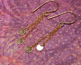 Disc Drop Earrings 14K Gold or SILVER