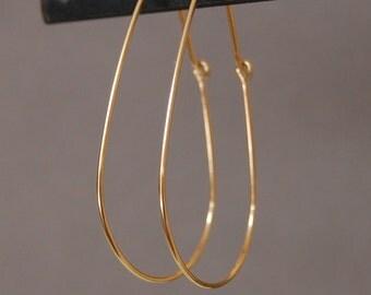 14K Gold Tear Drop Hoop Earrings