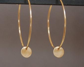 14K Gold Hoop and Disc Earrings