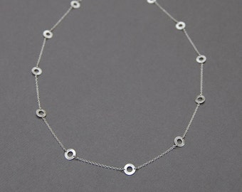 Silver Infinity Necklace with Eleven 7mm Circles