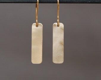 Solid 10K Gold Bar Earrings
