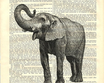 Elephant printed on Antique Book Page