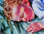 Original Acrylic Painting Sleeping Child Fine Art Infant Baby