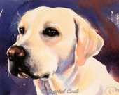 Yellow Lab watercolor original fine art dog painting 5 x 7 sweet soulfull expression