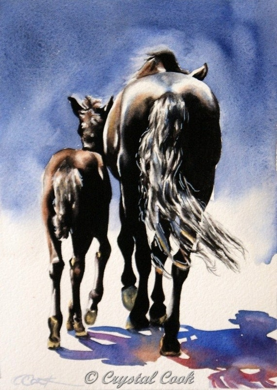 watercolor original horse painting black mare and foal mom and baby daily painting 5 x 7