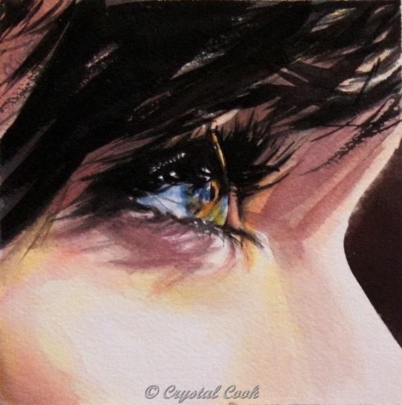 Watercolor Original Art Beautiful Woman Eye close up portrait