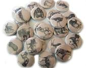 25 Wild Animal FLAT  Buttons