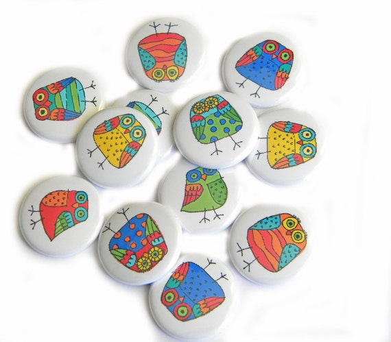 Buttons - Doodle Owl (set of 12)