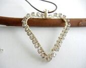 Heart Pendant Necklace, Silver Necklace, Swarovski Crystal Necklace, Leather Cord Necklace