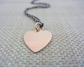 14K Rose Gold Necklace, Gold Heart Necklace, Rose Gold Heart Necklace, Heart Pendant Necklace