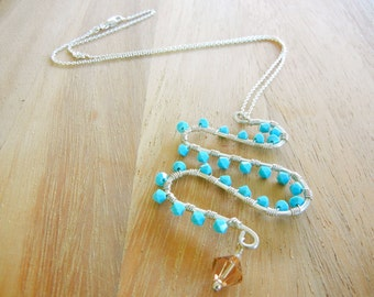 Beaded Pendant Necklace, Turquoise  Pendant Necklace, Sterling Silver Necklace