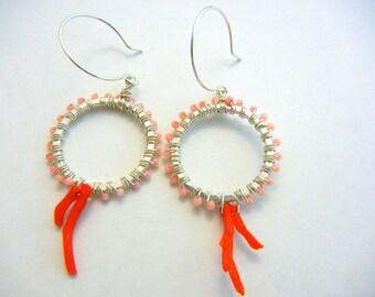 Coral Hoop Earrings,Sterling Silver  Hoop Earrings, Coral Dangle Earrings,