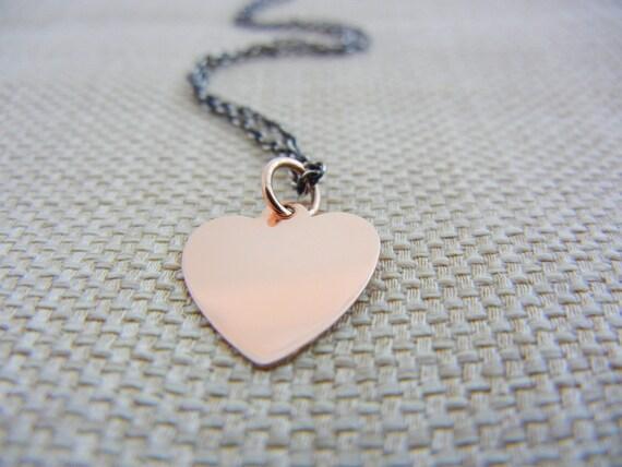 14K Rose Gold Necklace, Gold Heart Necklace, Rose Gold Heart Necklace, Heart Pendant Necklace