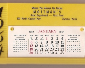 calendar vintage Yellow plastic VINTAGE 1964 advertisment Calendar Kitchen RETRO new old stock Salesman Sample