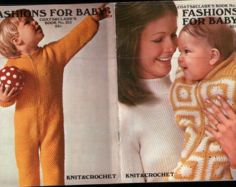 BABIES fashions KNITTING Crochet Booklet VINTAGE Coats Clark 213 knitting instructions Patterns, scarf pattern, hat totes slippers pattern