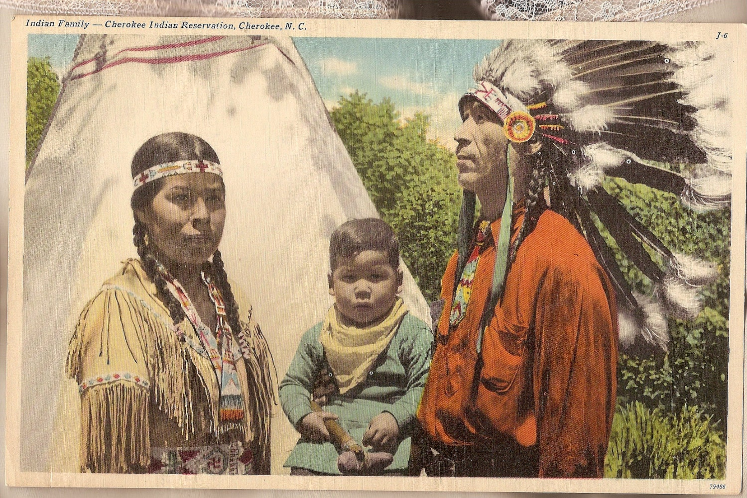 Indian family cherokee real photo giant by vintagebooklover