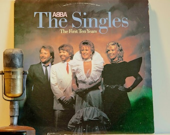 """ON SALE Abba - """"The Singles: The First Ten Years"""" (SCARCE Original Columbia House Edition - 1982 2Lp Gatefold with """"Mamma Mia"""", """"Dancing Que"""