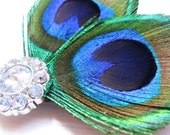 Peacock Hair Clip - Elegant Feathers and sparkling gemstone- bride or formal hair accessory