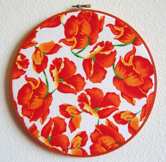 Poppy flower Embroidery Hoop Art -  warm orange cotton print Wall Hanging -  10in Hoop