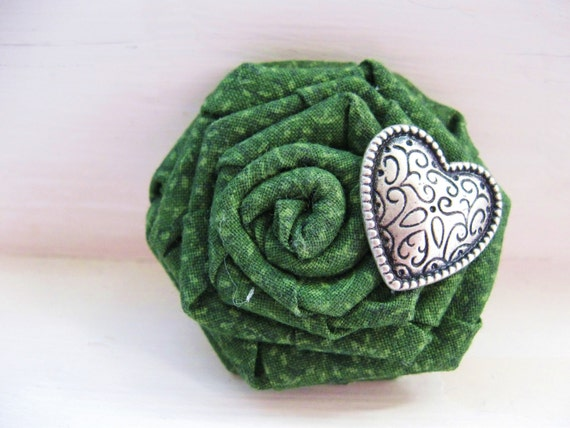 Moss Green brooch and hair clip