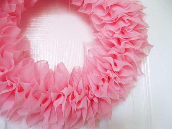 Spring -Pink Chiffon Ruffle Wreath Shabby Chic - perfect for spring and Easter - baby girl nursery decor - weddings
