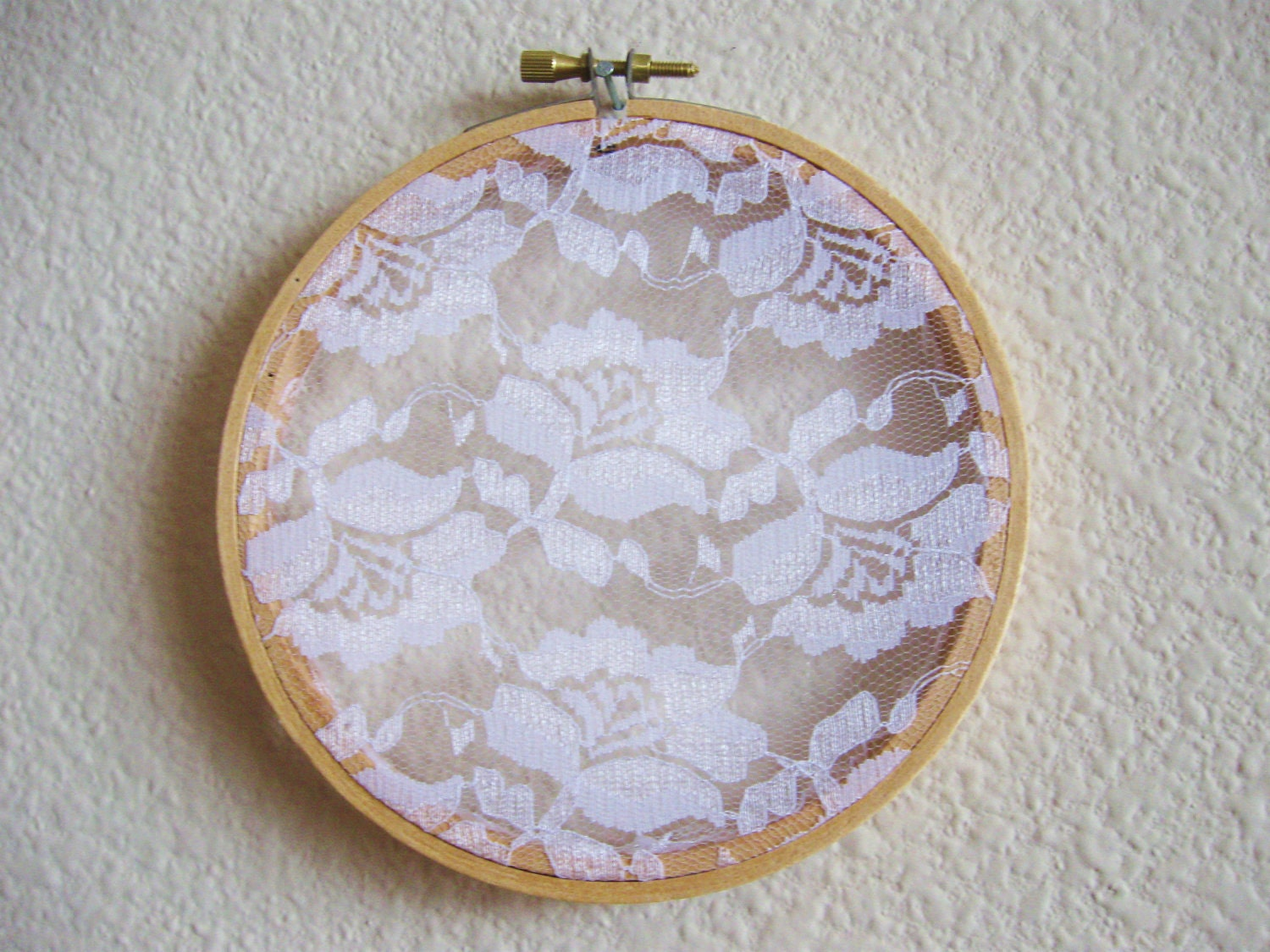 Lace jewelry holder shabby chic embroidery hoop by