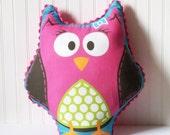 Owl Plush Pillow - Maggie Mixup - Custom printed fabric pillow with minky backing and rick rack trim