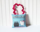 Tooth Fairy Plush Pillow - Terrific Teal - Custom printed fabric pillow with pocket backing and rick rack handle