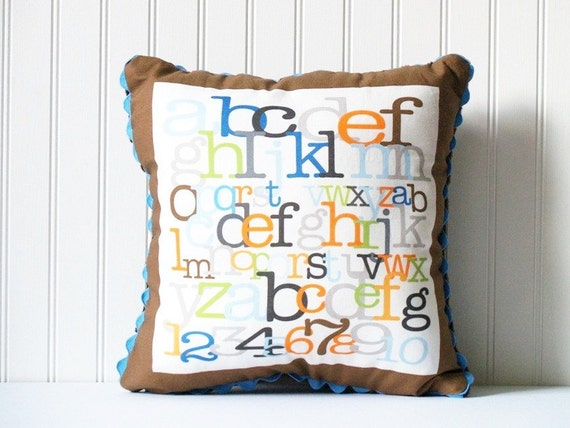 READY TO SHIP -- Alphabet Pillow -- boy with brown border & chocolate brown minky on the back
